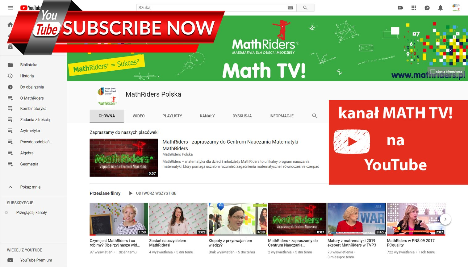 MathRiders Math TV! kanał na YouTube